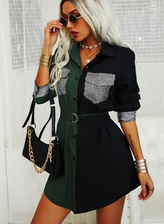 Color Block Paljetter Fodral Långa ärmar Mini Fritids Skjortklänningar Modeklänningar