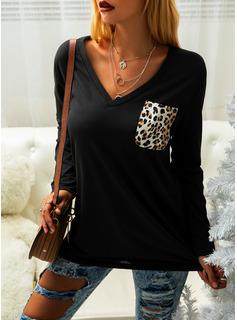 leopardo Scollatura a V Maniche lunghe Casuale Reggiseno Tshirt