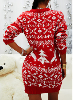 印刷 長袖 カジュアル クリスマス ファッションドレス