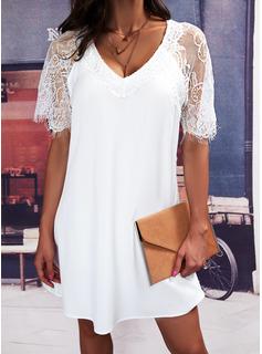 Solid Shift Short Sleeves Midi Casual Elegant Tunic Dresses