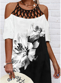Trozos de color Floral Impresión Vestidos sueltos Mangas 1/2 Midi Casual Túnica Vestidos de moda
