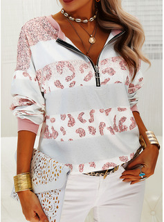 Sequins Leopard V-Neck Long Sleeves Sweatshirt