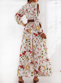 Blommig Print A-linjeklänning Långa ärmar Split Ärmar Maxi Fritids Elegant skater Modeklänningar