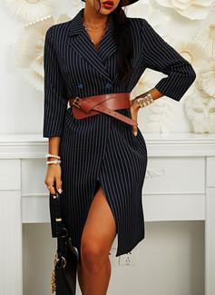 縞模様の シースドレス 3/4袖 ミディ カジュアル エレガント ファッションドレス