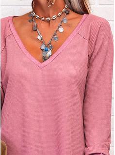 Einfarbig V-Ausschnitt Lange Ärmel Basic Lässige Kleidung Blusen