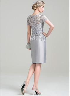 Sheath/Column Scoop Neck Knee-Length Taffeta Lace Mother of the Bride Dress