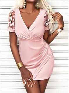 Solid Sheath Short Sleeves Mini Casual Elegant Wrap Dresses