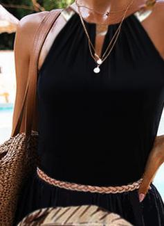 Impresión Vestido línea A Sin mangas Maxi Casual Vacaciones Patinador Vestidos de moda