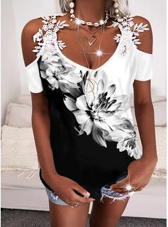 Color Block Floral Print Cold Shoulder Short Sleeves Casual