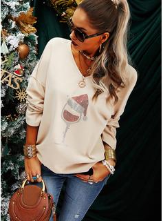 Sequins V-Neck Long Sleeves Christmas T-shirt