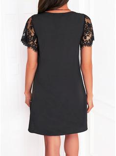 固体 シフトドレス 半袖 ミディ リトルブラックドレス カジュアル チュニック ファッションドレス