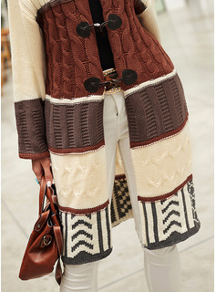 Hooded Casual Long Color Block Cable-knit Sweaters