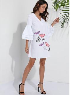 Animale Stampa Abiti dritti Flare Sleeve Mini Casuale Vestiti di moda