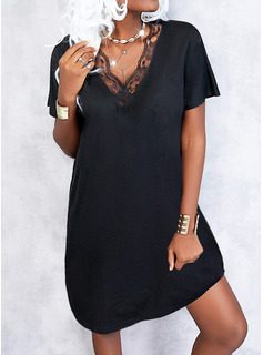 Sólido Vestidos sueltos Manga Corta Mini Pequeños Negros Elegante Vestidos de moda