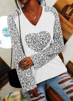 Perlée Léopard Col V Manches Longues Décontractée T-shirt