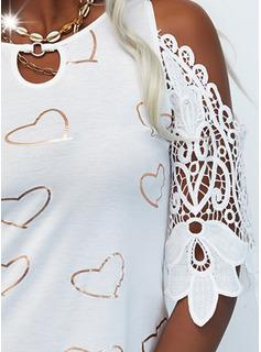Impresión Corazón Vestidos sueltos Mangas 1/2 Mini Casual Túnica Vestidos de moda