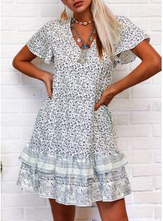 Blomster Print Skiftekjoler Korte ærmer Mini Boho Casual Ferie Tunika Mode kjoler