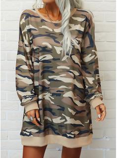 Print Camouflage Skiftekjoler Lange ærmer Mini Casual Sweatshirts Mode kjoler