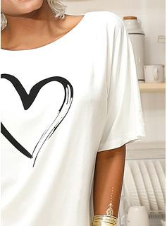 Drucken 1/2 Ärmel Polyester Eine Schulter T-shirt Blusen