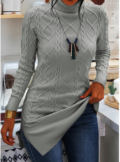 Turtleneck Casual Long Solid Cable-knit Chunky knit Sweaters