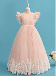 Ball-Gown/Princess Floor-length Flower Girl Dress - Lace Short Sleeves Scoop Neck With Ruffles/Feather/Bow(s)