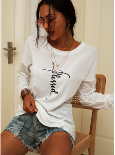Print Long Sleeves Cotton Blends One Shoulder T-shirt Blouses