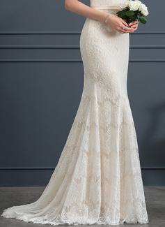 Trumpet/Mermaid Scoop Neck Sweep Train Lace Wedding Dress