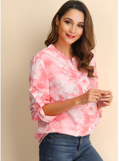 Print V-Neck Long Sleeves Button Up Casual