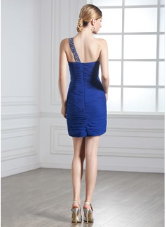 Forme Fourreau Encolure asymétrique Court/Mini Mousseline Robe de vacances avec Plissé Emperler