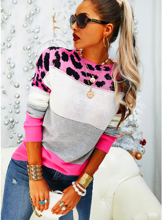 Round Neck Casual Leopard Color Block Sweaters