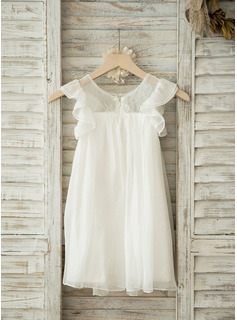A-Line/Princess Scoop Neck Knee-Length Chiffon Junior Bridesmaid Dress With Lace
