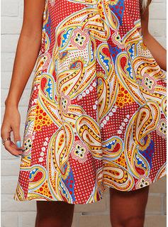 Nadruk Suknie shift Bez Rękawów Mini Nieformalny Modne Suknie