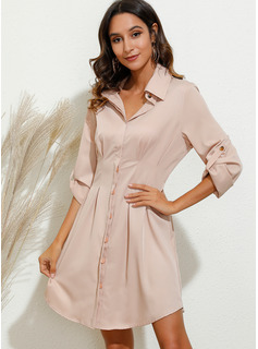 Above Knee Shirt collar Polyester/Cotton Solid 1/2 Sleeves Fashion Dresses