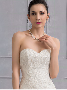 Trumpet/Sjöjungfru Älskling Sweep släp Organzapåse Spets Bröllopsklänning