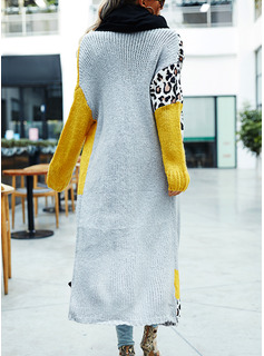 Casual Long Leopard Color Block Sweaters