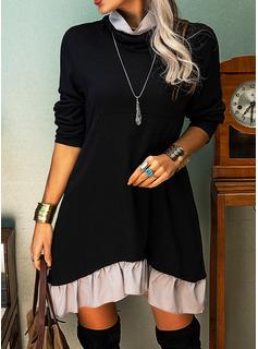 カラーブロック シフトドレス 長袖 ミニ カジュアル チュニック ファッションドレス