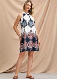 Impresión Vestidos sueltos Sin mangas Mini Casual Vacaciones Vestidos de moda