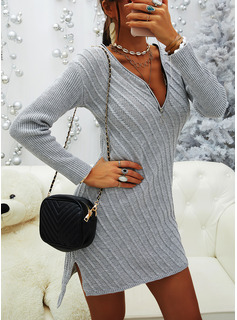 V-Neck Casual Long Solid Sweaters