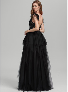 Ball-Gown/Princess V-neck Floor-Length Tulle Prom Dresses With Feather Sequins