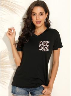 Print Patchwork Leopard Korte ærmer Polyester V-hals T-shirt Bluser
