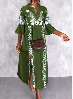 Impresión Vestidos sueltos Mangas 3/4 Maxi Casual Vacaciones Vestidos de moda