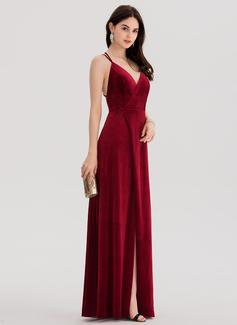 A-Line/Princess V-neck Floor-Length Velvet Evening Dress With Split Front