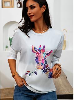 Animale Stampa Girocollo Maniche lunghe Casuale Reggiseno Tshirt