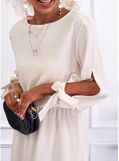 固体 シースドレス 3/4袖 ミニ カジュアル ファッションドレス