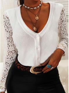 Blonder Solid V-hals Lange ærmer Button-up Elegant Skjorter