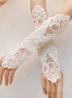 Кружева локоть длина Свадебные перчатки с Вышито