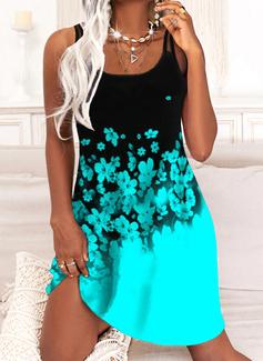 Trozos de color Floral Impresión Vestidos sueltos Sin mangas Midi Casual Vacaciones Tipo Vestidos de moda