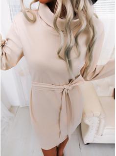 Solido A trapezio Maniche lunghe Mini Casuale Vestiti di moda