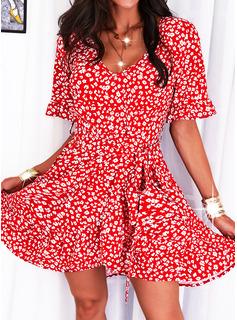 Impresión Vestido línea A Mangas 1/2 Mini Casual Patinador Vestidos de moda