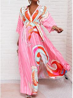 Print Kjole med A-linje 3/4 ærmer Maxi Casual skater Mode kjoler